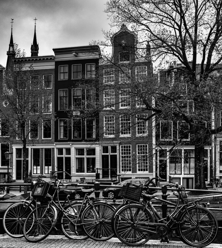 Amsterdam bicycles in Black & White