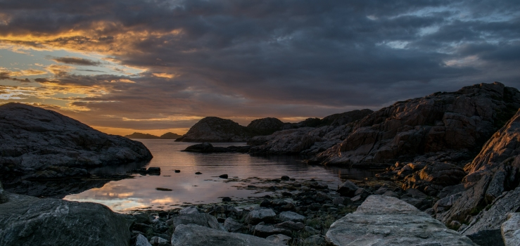 Colorful sunset at Lindesnes lighthouse in Norway