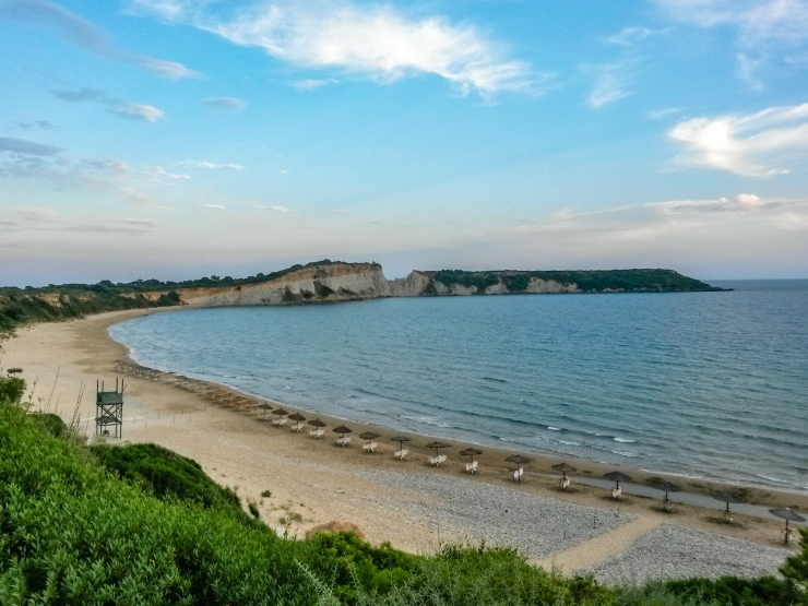 Gerakas beach is a part of the national protected marine park at Zakybthos. The ladderback turtles called Carretta Caretta comes ashore from the middle of june to lay their eggs.