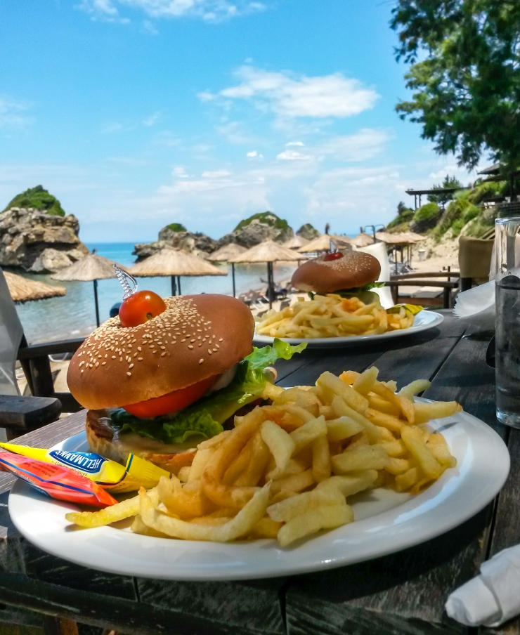 Now thats a burger with a view! The taverna at porto Zorro have great food.