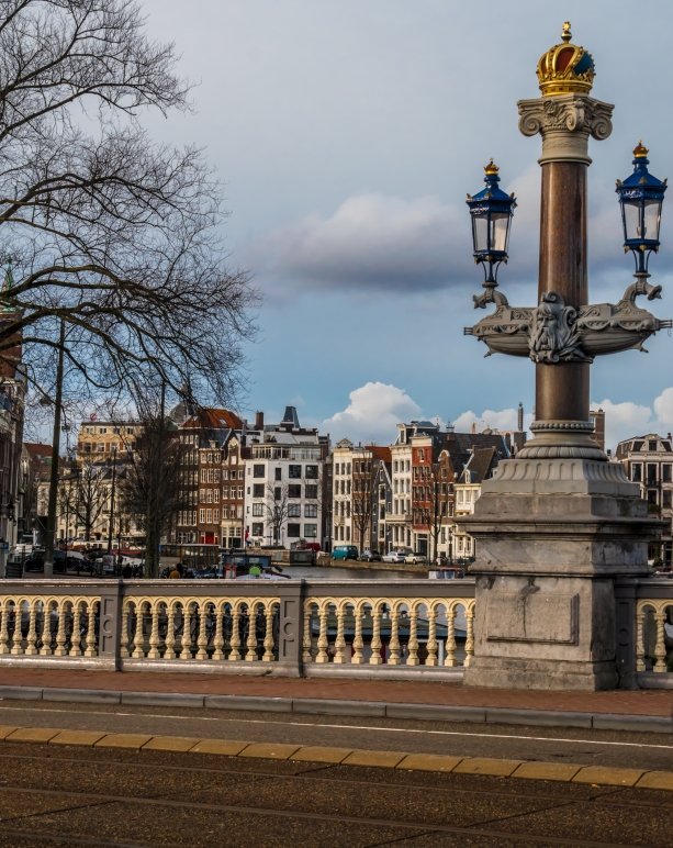 The lampposts on the Blauwbrug crossing the Amstel canal in Amsterdam are works of art.