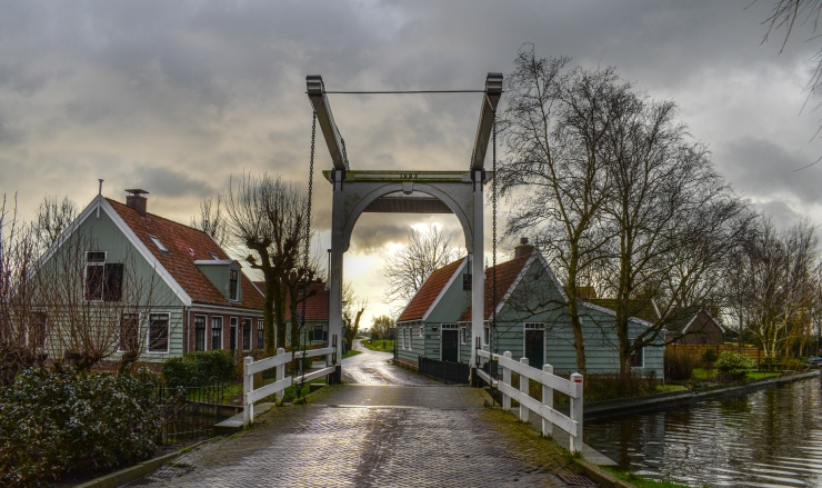 Theun is shining on an old bridge, in Zuiderwoude village, Amsterdam north.