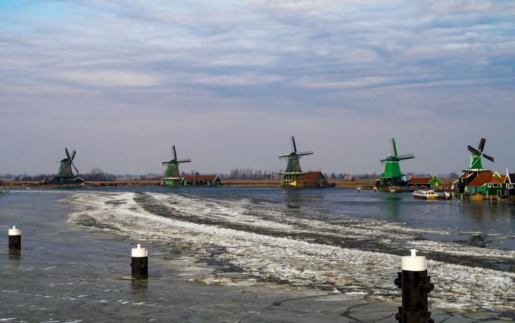 Winter and ice at the Zaanse Schans.